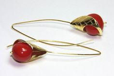 Coral gemstone hook earrings, sterling silver rhodium and goldplated, impressive fine jewelry by FavelaJewelry on Etsy