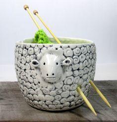 Yarn bowl sheep Knitting bowl Knitter gift Ready por ceramiquecote