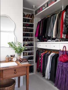 Master closet inspiration - great ideas for organizing with drawers, shelves, and cubbies. Love the way the drawers are placed Master Bedroom Closet, Home Bedroom, Bedroom Ideas, Budget Bedroom, Bedrooms, Bedroom Decor, Closet Storage, Closet Organization, Organizing