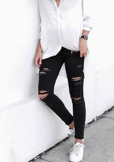 jeans negros rotos