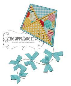 Ribbon Kite Embroidery Applique Design-Kite, spring, 3d design