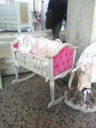 Love this cradle!  So cute for a baby girl...