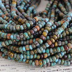 Aged Picasso Seed Beads Strand 40 Picasso Seed Beads Matte Seed Beads Tribal Boho Beads Czech Glass Seed Beads Old World Beads
