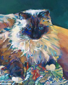 KMSchmidt 10x8 Ltd Ed PRINT Fauve Impressionist fluffy SIAMESE RAGDOLL CAT ART #Impressionism