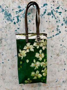 Vintage green burlap and calico tote
