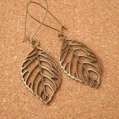 Antique Brass Filigree Leaf Charm Earrings $20.