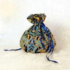 Bohemian pattern pompadour purse evening handbag wristlet drawstring reticule by AlicesLittleRabbit on Etsy Bohemian Pattern, Pompadour, Blue Satin, Black Cotton, Blue Yellow, Delicate, Purses, Bag, Etsy