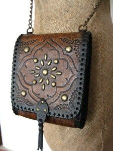 Black Boho Leather Bag Vintage style hand tooled with by karenkell, $165.00
