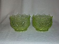 EAPG Richards & Hartley Vaseline Glass Daisy & Button W/ Crossbars Finger Bowls