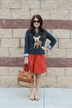 Mix and match fashion. J crew frenchie sweater. Love this sweater!!!! This blog is awsome- a daily read for me.