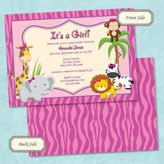 Girls Jungle or Safari Baby Shower Invitation by NotesbySherryLLC, $10.00