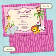 Girls Jungle or Safari Baby Shower Invitation by NotesbySherryLLC, $10.00