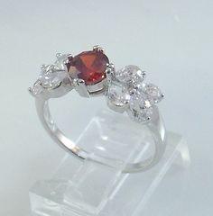 Ladies Red Garnet CZ 18K White Gold Overlay Ring~Size 7--Free Gift Box