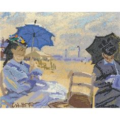 """Claude Monet The Beach At Trouville Counted Cross Stitch Kit-12.5""""X10.5"""" 14 Count"""