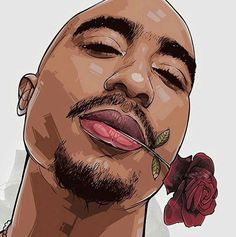 Thank you babe for the 🌹 rose. My man TUPAC infinity and beyond. Arte Do Hip Hop, Hip Hop Art, Black Women Art, Black Art, Tupac Wallpaper, Tupac Art, Arte Black, Trill Art, Rapper Art