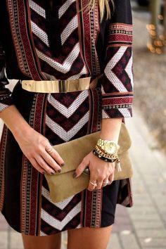 gold belt + shift dress