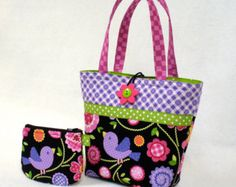 Cute Little Girls Purse Set Mini Tote with Coin Purse Pretty Bird Gingham Rick Rack Flowers Purple Pink Lime Green Black Sweet Things MTO Fabric Gift Bags, Paper Gift Bags, Jelly Roll Quilt Patterns, Bag Patterns To Sew, Rick Rack Flowers, Kids Purse, Toddler Bag, Denim Tote Bags, Handmade Purses
