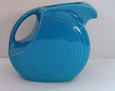 Fiesta Fiestaware Homer Laughlin Large 2 Quart Peacock Bright Blue Disc Pitcher #Fiesta