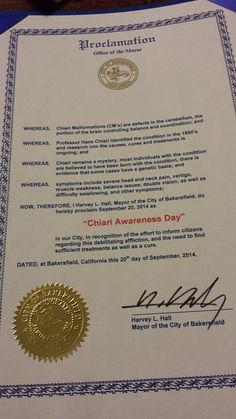 """CALIFORNIA / CITY OF BAKERSFIELD - """"Proclamation for September 20 2014 as Conquer Chiari Walk Across America Day"""" Special Thanks to Mayor Harvey L. Hall"""