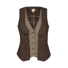 Daytrip Pinstriped Vest (€24) ❤ liked on Polyvore featuring outerwear, vests, tops, jackets, shirts, shirts/topsvests, daytrip, brown waistcoat, daytrip vest and vest waistcoat