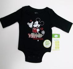 My First Christmas, Long Sleeved Onsie, with Mickey Mouse, Newborn