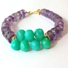 Amethyst Bracelet Gold Jewelry Mint Green by jewelrybycarmal, $60.00