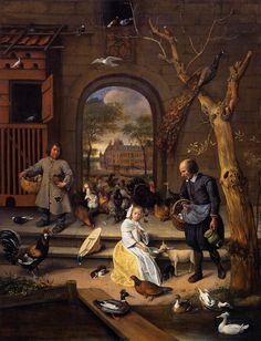 """STEEN Jan - Dutch (Leiden, 1625/1626 – 1679) ~ 1660 """"The Poultry Yard"""""""