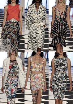 New York Womenswear Print Highlights Part 2 – Spring/Summer 2015 catwalks - Nicole Miller from Patternbank: Brazilian Influences – Geometric Collaged Tropicals – Black & White Leaf Pattern – Copacabana Pavement Print – Stripe & Tropical Mixes – Exotic Fruit Garland Prints – Mono Foliage with technicolor Birds