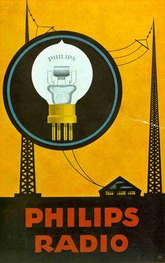 Philips Poster for the miniwatt audio vacuum radio tube 1931 | #vintage #retro #advert