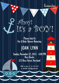 Navy Nautical Baby Shower Invitation, Ahoy It's A Boy Digital Invite, Navy Baby… Baby Shower Balloons, Baby Shower Themes, Baby Boy Shower, Baby Shower Decorations, Sailor Baby Showers, Anchor Baby Showers, Baby Shower Marinero, Baby Shower Invitaciones, Shower Bebe