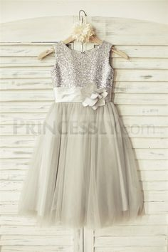 689 best silver flower girl dresses images on pinterest in 2018 silver sequin gray tulle flower girl dress mightylinksfo
