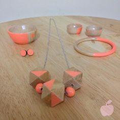 Neon orange geometric necklace by pinkappleaustralia on Etsy