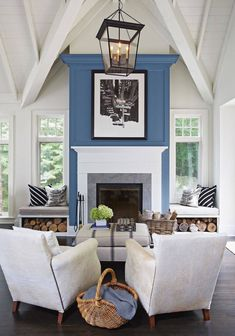 This Old House — Add an Accent: A Shot of Color Bump up a bland… – farmhouse fireplace tile Fireplace Accent Walls, Tall Fireplace, Home Fireplace, Living Room With Fireplace, Fireplace Design, Fireplace Ideas, Fireplace Shelves, Fireplace Decorations, Fireplace Mantels