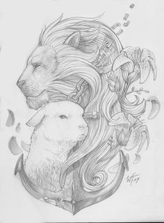 Lion & Lamb Tattoo ~~ this would b good for a Gemini cuz we have 2 sides. Sometimes I'm the lamb, and other times I'm the lion. Leo Tattoos, Future Tattoos, Sleeve Tattoos, Tatoos, Christian Tattoos, Christian Art, Lion Tattoo Design, Tattoo Designs, Tattoo Ideas