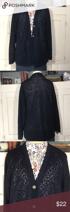 VINTAGE ALFRED DUNNER navy blue cardigan sz small VINTAGE ALFRED DUNNER navy blue cardigan sz small So cute and will go with any outfit!! Button down front (one button is gold and missing the blue ring inside) otherwise fantastic condition!!! Size small. Would fit medium as well.  B-13 Alfred Dunner Sweaters Cardigans Navy Blue Cardigan, Sweater Cardigan, Blue Rings, Alfred Dunner, Friends, Outfit, Cardigans, Lace Tops, Navy Cardigan Outfit