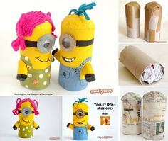 24 ideas craft summer kids toilet paper for 2019 Toilet Roll Craft, Toilet Paper Roll Art, Kids Toilet, Creative Crafts, Kids Crafts, Crafts To Make, Minion Birthday, Minion Party, Minion Surprise
