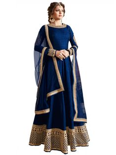 Drashti Dhami Navy Blue Anarkali Suit