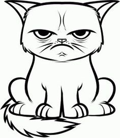 Grumpy Cat Coloring Book Luxury Draw the Grumpy Cat Tard the Grumpy Cat Step by Step Cat Coloring Page, Doodle Coloring, Cool Coloring Pages, Cartoon Coloring Pages, Coloring Books, Elsa Coloring, Cat Outline, Outline Drawings, Cartoon Drawings