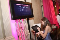High-Tech Bar & Bat Mitzvah Ideas - Digital Sign-In Board from The Main Event - mazelmoments.com