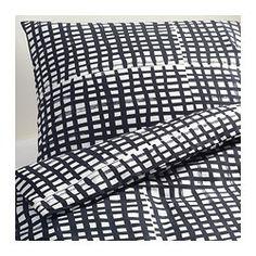 """$39.99   BJÖRNLOKA RUTA (""""Old Linen Sacks"""") Duvet cover and pillowcase(s) - King - IKEA   Black & White Crosshatching"""