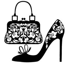 Illustration of Fashion concept vector art, clipart and stock vectors. Silhouette Cameo, Cross Stitch Silhouette, Diy Image, Purse Patterns, Shoe Art, Kirigami, Digi Stamps, Paper Cutting, Clip Art