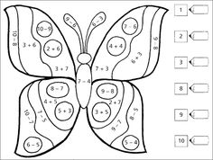 Butterfly addition or subtraction color by number worksheet School Age Activities, School Worksheets, Kindergarten Activities, Number Worksheets, Montessori Math, Preschool Math, Math For Kids, Fun Math, Teaching Skills