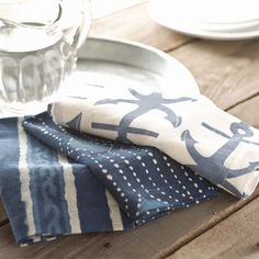 Pine Cone Hill | Resist Dot Indigo Napkins | Inspired by traditional Indian kantha quilts, these cotton napkins feature a block-style print on an ink-colored background.