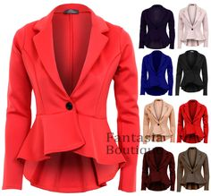 New Ladies Long Sleeve Frill Shift Fitted Low Back Blazer Women's Jacket