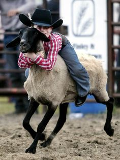 Brock Jungles hangs on with both hands as he takes a wild ride on a sheep during the PBR bull riding event in Binford, N.D.
