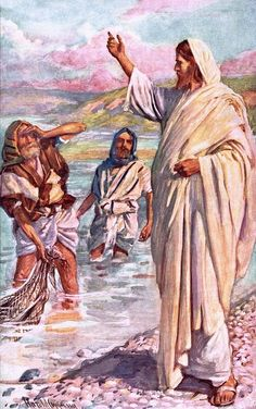 The Call of Andrew and Peter by Harold Copping {c.early 1900's} ~ Jesus