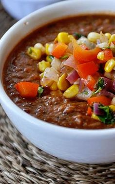 Fire-Roasted Tomato and Black Bean Soup with Fresh Salsa (Use Veggie Broth instead of Chicken)