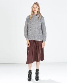 ZARA - WOMAN - HIGH-NECK, CABLE KNIT SWEATER