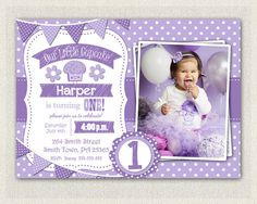 Purple Cupcake Invitation / Girls 1st by PixiePerfectParties