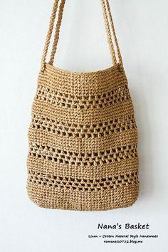 Striped net bag: crochet hook bag - My CMS Crochet Diy, Crochet Tote, Crochet Handbags, Crochet Purses, Crochet Stitches, Crochet Hooks, Crotchet Bags, Knitted Bags, Crochet Designs